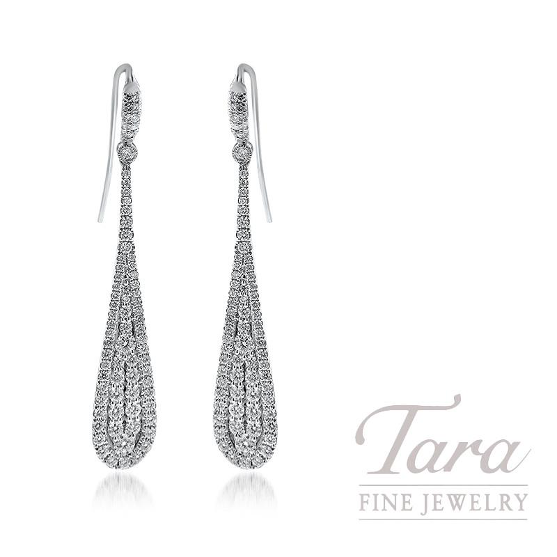 18K White Gold Diamond Drop Earrings, 7.9G, 1.93TDW