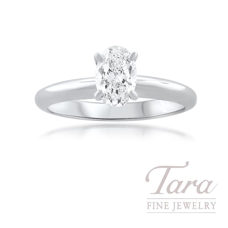Forevermark 18K White Gold Oval Diamond Solitaire Engagement Ring 0.70CT, H-VS2