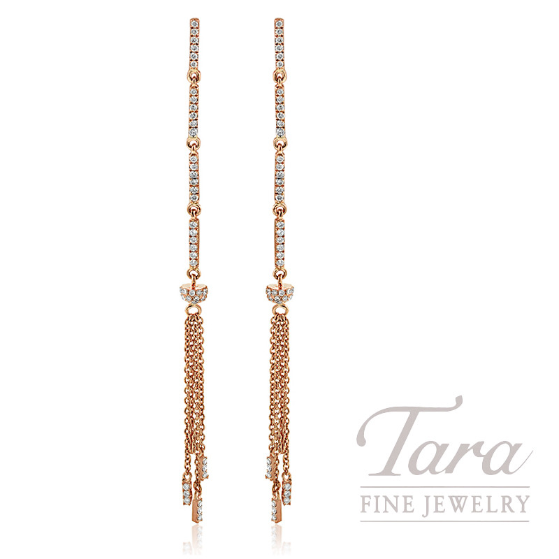 18K Rose Gold Diamond Dangle Earrings, 2.8G, .43TDW
