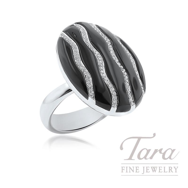 18k White Gold Black Onyx and Diamond Ring, 13.7G, .40TDW