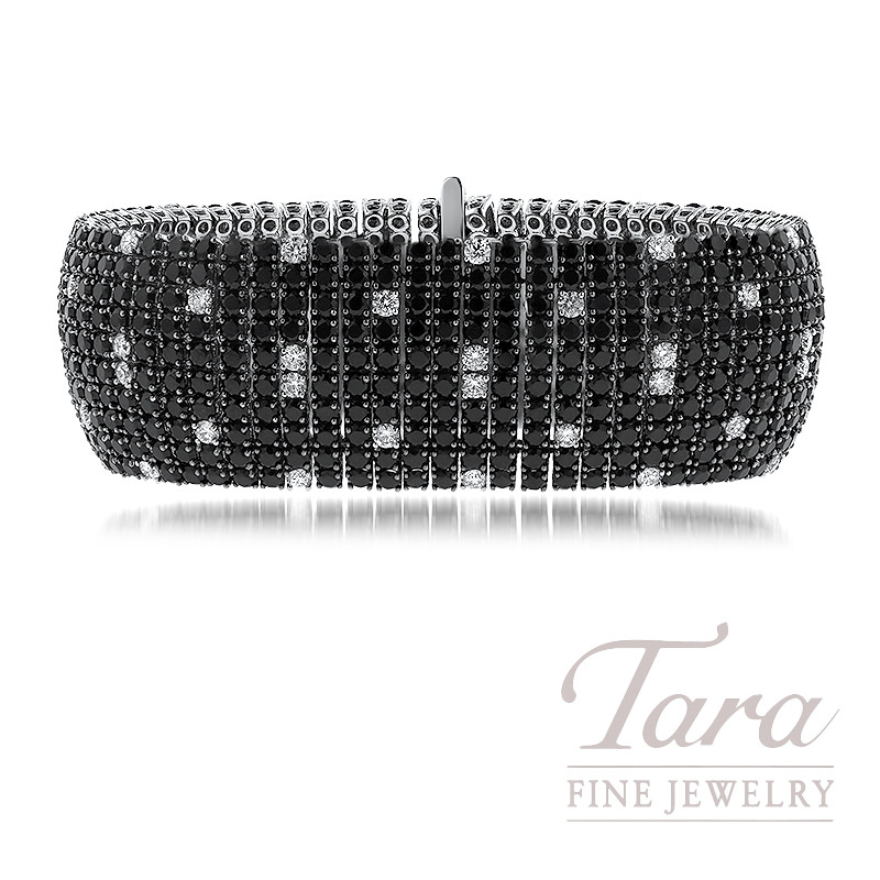 18K White Gold Roberto Coin Fantasia Black Sapphire and Diamond Bracelet, 43.50TGW Black Sapphires, 3.55TDW Diamonds