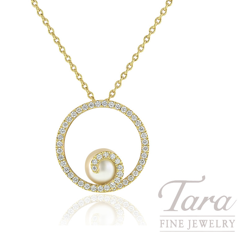Mikimoto 18k Yellow Gold Pearl and Diamond Swirl Pendant, .49TDW