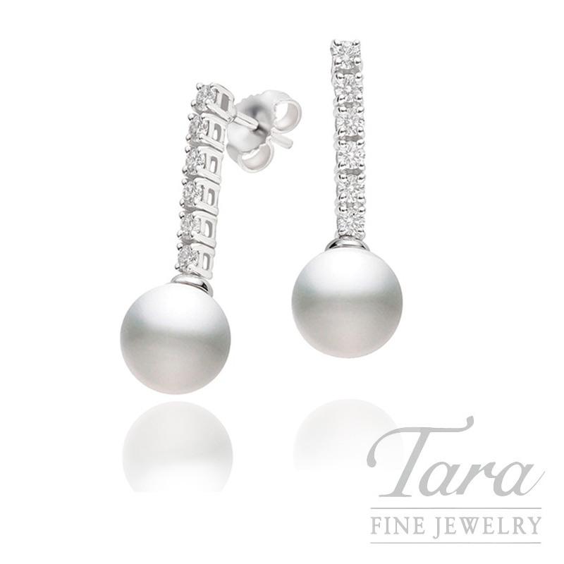 Mikimoto Pearl & Diamond Earrings in 18K White Gold, .34tdw
