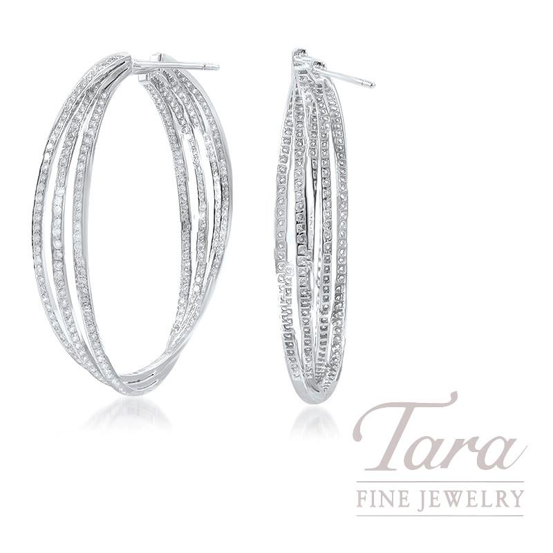 18K White Gold Interlocking Diamond Hoop Earrings, 12.5G, 3.42TDW
