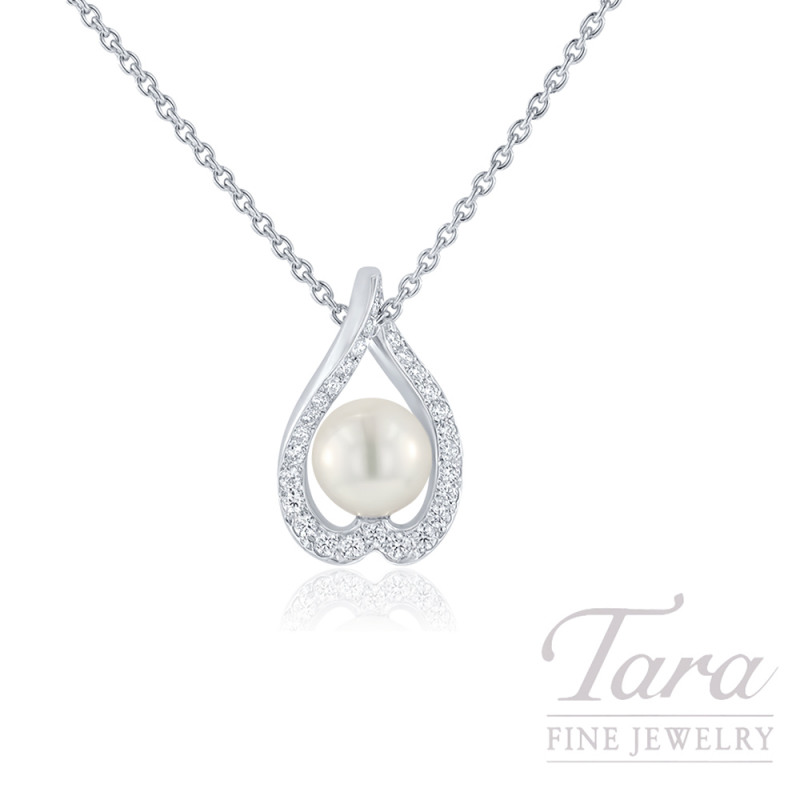 Mikimoto 18K White Gold Pearl and Diamond Necklace, 7mm Pearl, .22TDW