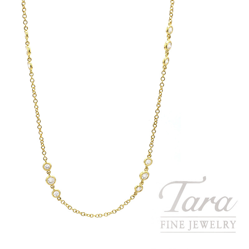 77734a118232e 18K Yellow Gold Diamond Necklace, 25 Round Diamonds 1.21TDW, 16