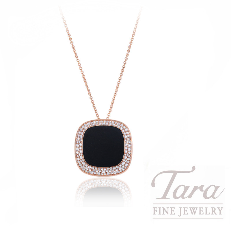 "Roberto Coin 18k Rose Gold Black Jade and Diamond Necklace, 18/28"" Chain, 1.25TDW, ""Carnaby Street"" Collection"