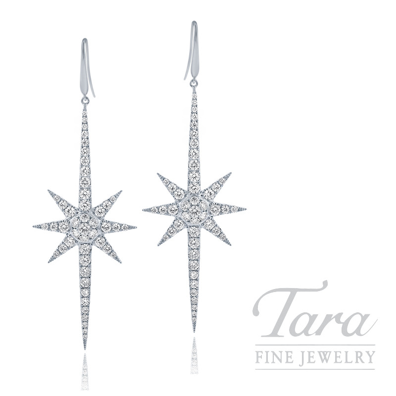 18k White Gold Diamond Sparkler Earrings, 5.5G, 1.32TDW
