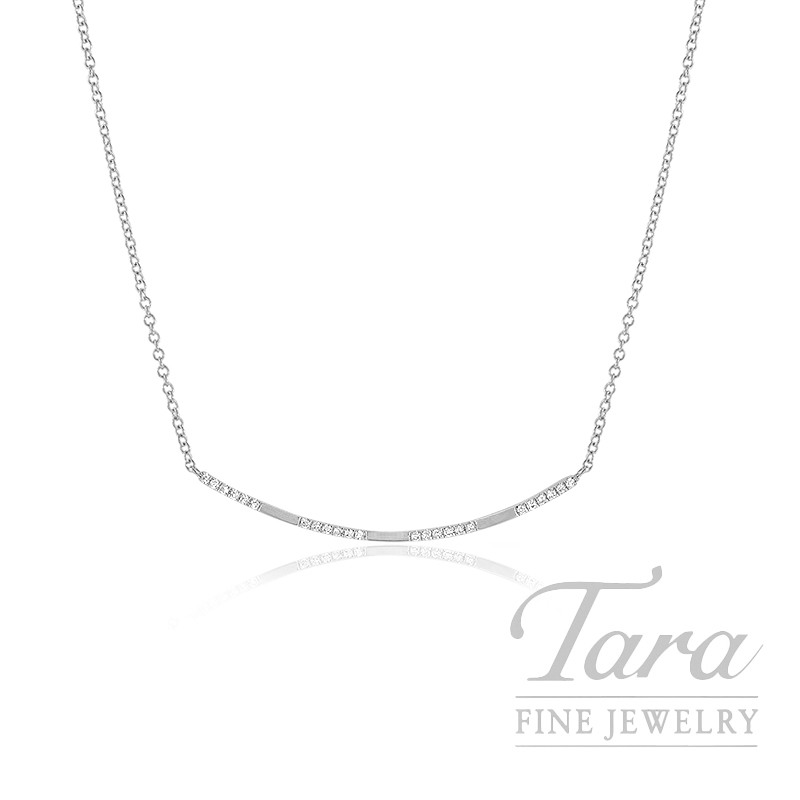 "18k White Gold Diamond Necklace, 16/17/18"" Chain, 2.0G, .08TDW"