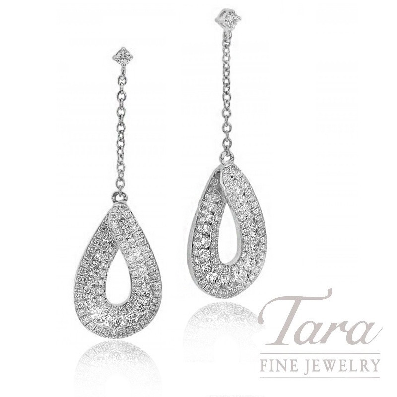 18k White Gold Diamond Dangle Earrings, 5.2g, 1.20TDW