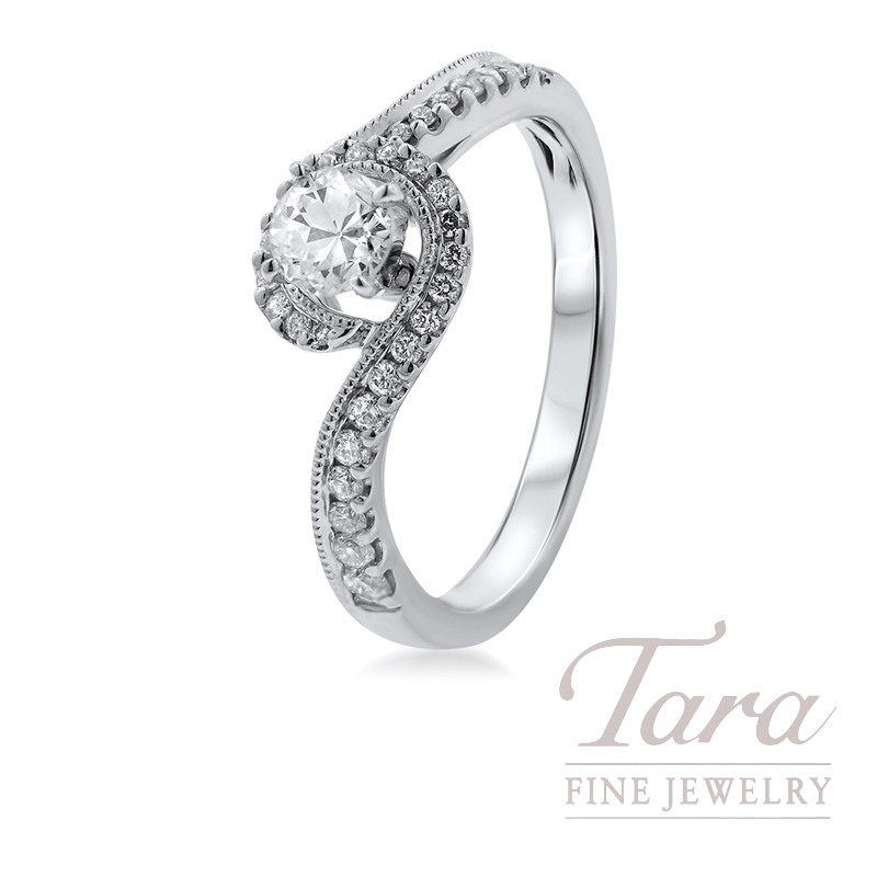14K White Gold Diamond Swirl Engagement Ring, .32CT Center Diamond, .25TDW