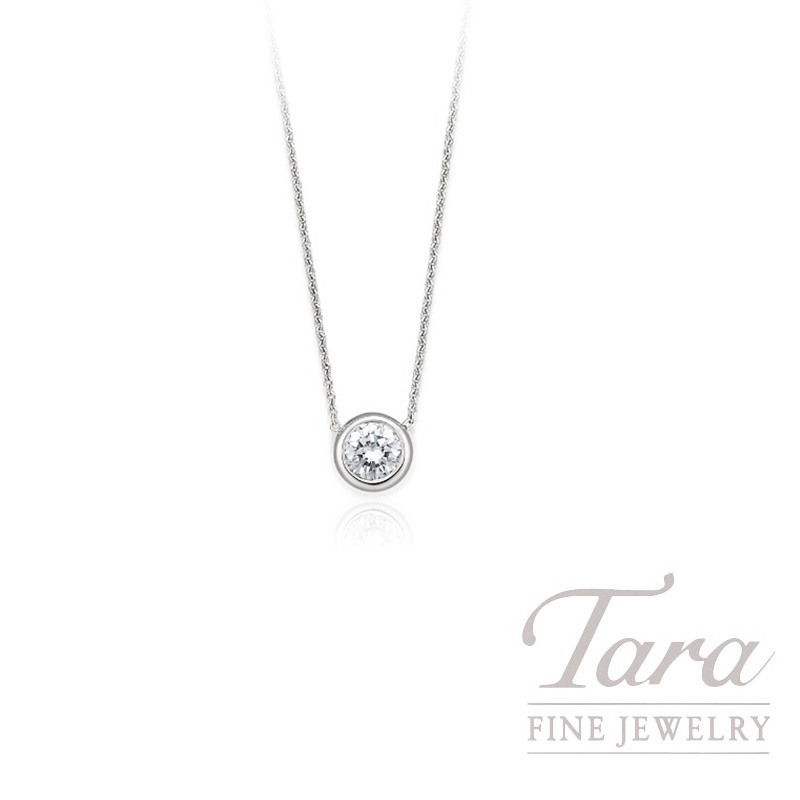 "Roberto Coin 18K White Gold Diamond Bezel Necklace, 18"" Chain, .38CT Diamond"