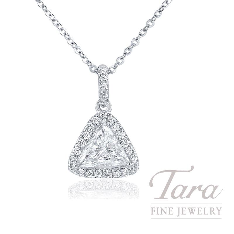 18K White Gold Trillion Diamond Halo Pendant, .53CT Trillion Diamond, .12TDW
