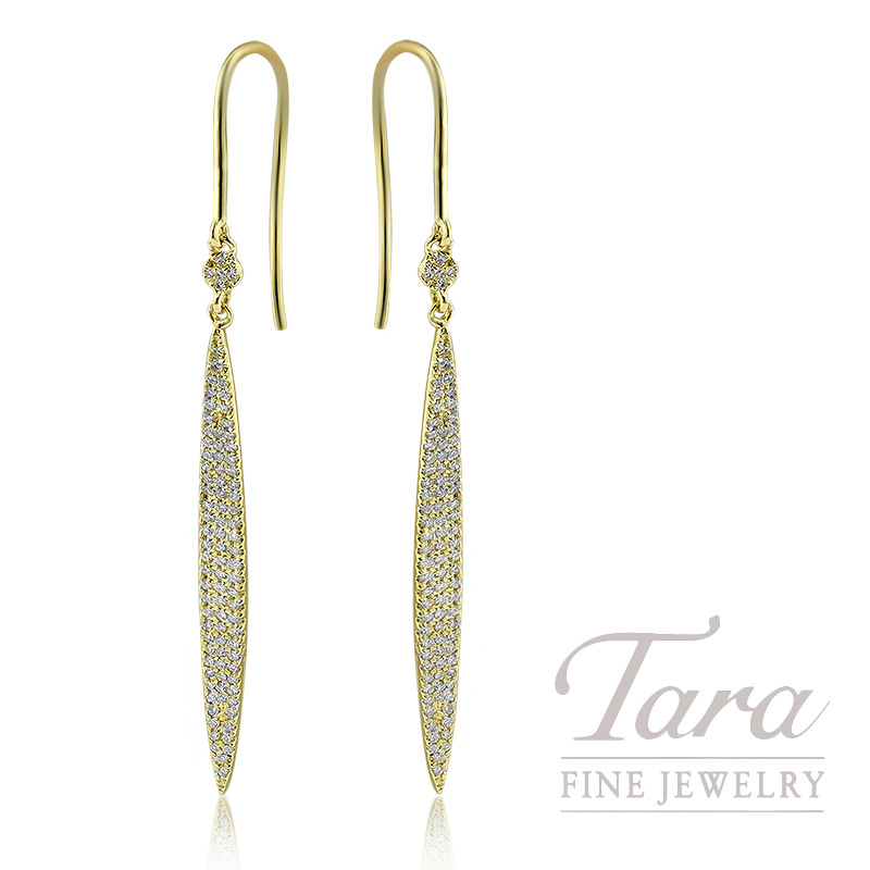 18K Yellow Gold Pave Diamond Dangle Earrings, 2.4G, .42TDW