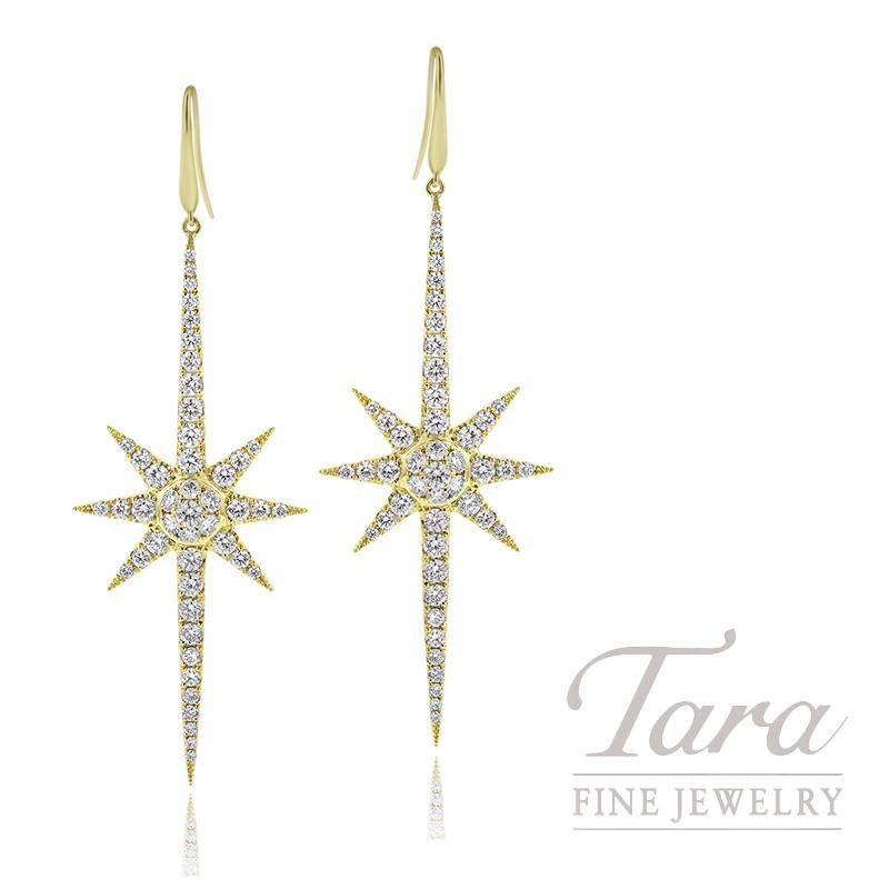 18K Yellow Gold Diamond Sparkler Earrings, 5.5G, 1.32TDW
