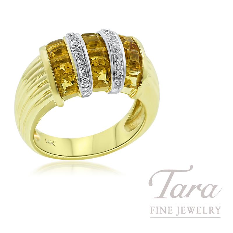 14K Yellow Gold Citrine and Diamond Ring, 7.4G, .10TDW