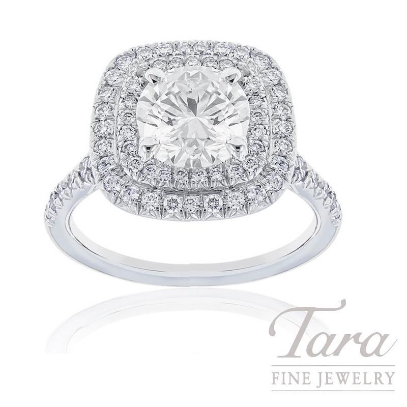 18K White Gold Double Halo Diamond Engagement Ring, 2.02CT Round Brilliant Diamond, 5.3G, .51TDW (Center Stone Sold Separately)