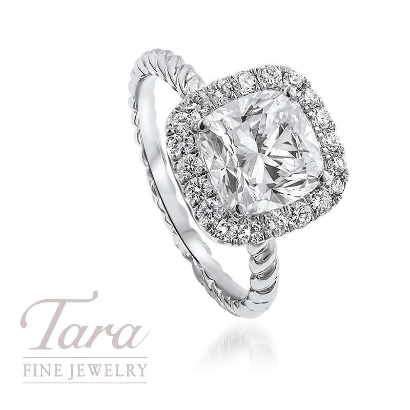 18K White Gold Cushion Diamond Twist-style Engagement Ring, 2.01CT Cushion Diamond,  .29TDW