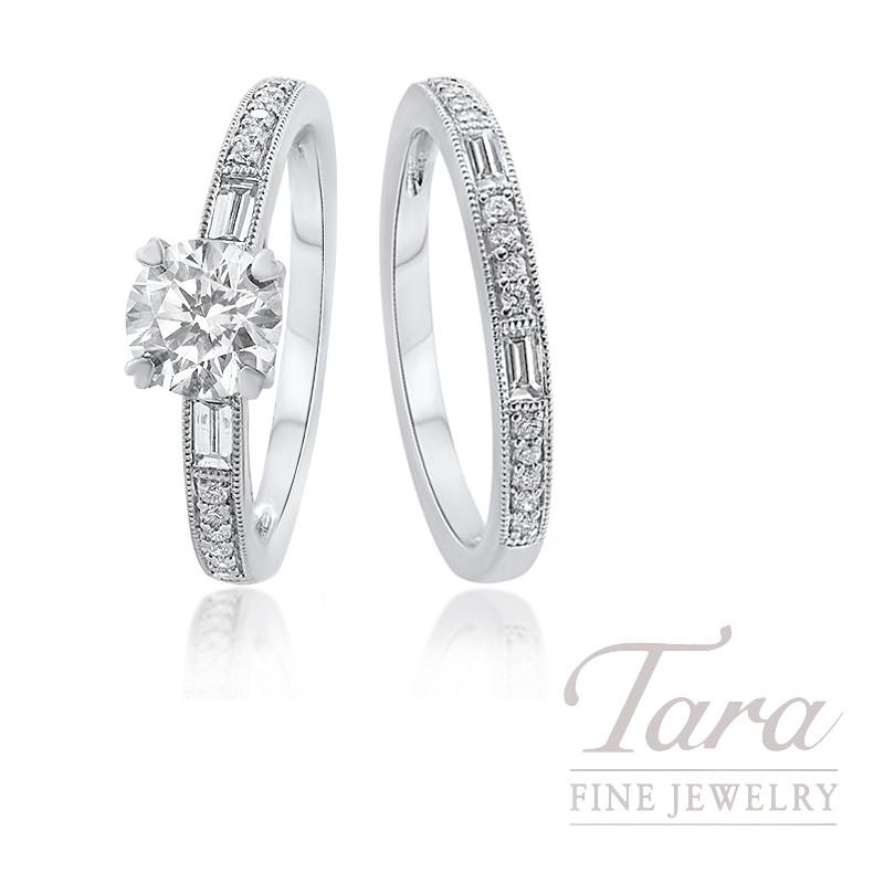 18k White Gold Baguette Diamond Wedding Set, .83CT Diamond, .35TDW (Center Stone Sold Separately)