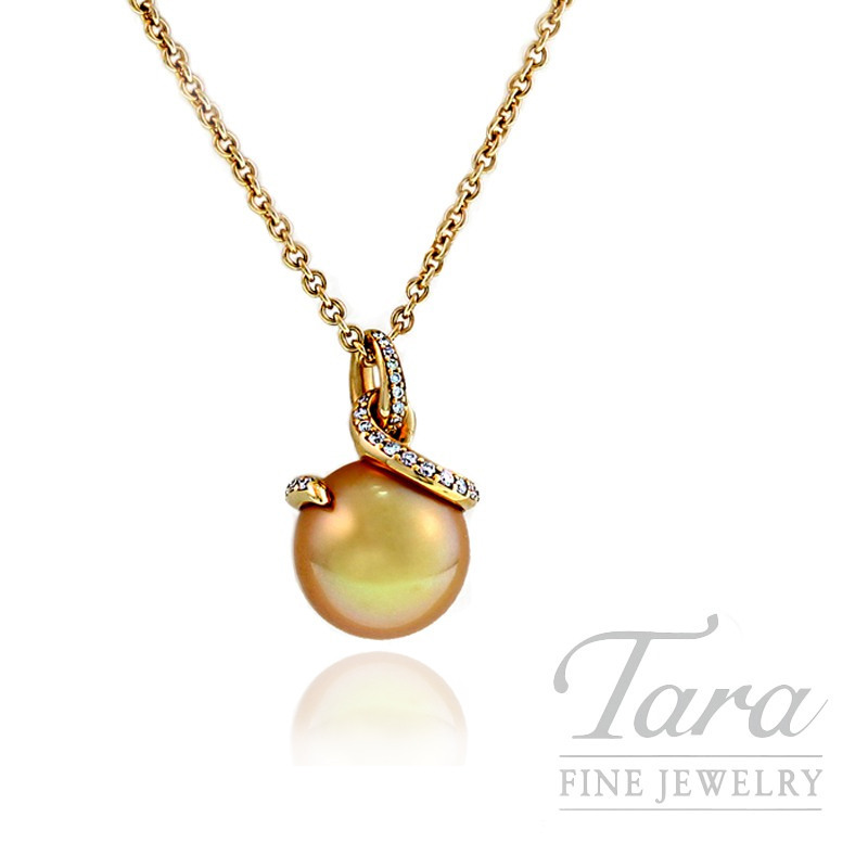 39c47c8f6 Mikimoto Pearl Pendant with 11mm Golden South Sea Pearl in 18k Yellow Gold,  .20 TDW | Tara Fine Jewelry