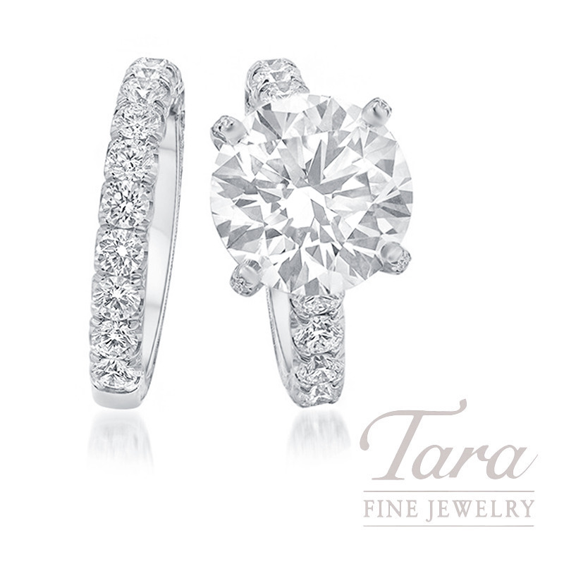 Jack Kelege Platinum 7CT Diamond Wedding Set, 7.0CT Round Diamond, 16.9G, 2.98TDW (Center Stone Sold Separately)