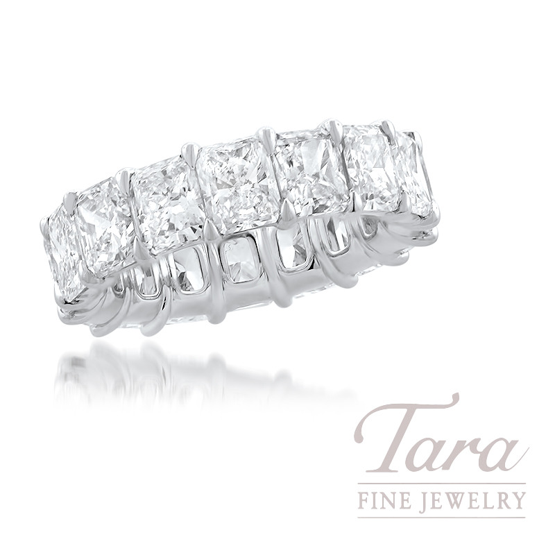 Platinum Radiant Diamond Eternity Band, 16 Radiant Cut Diamonds 8.57TDW