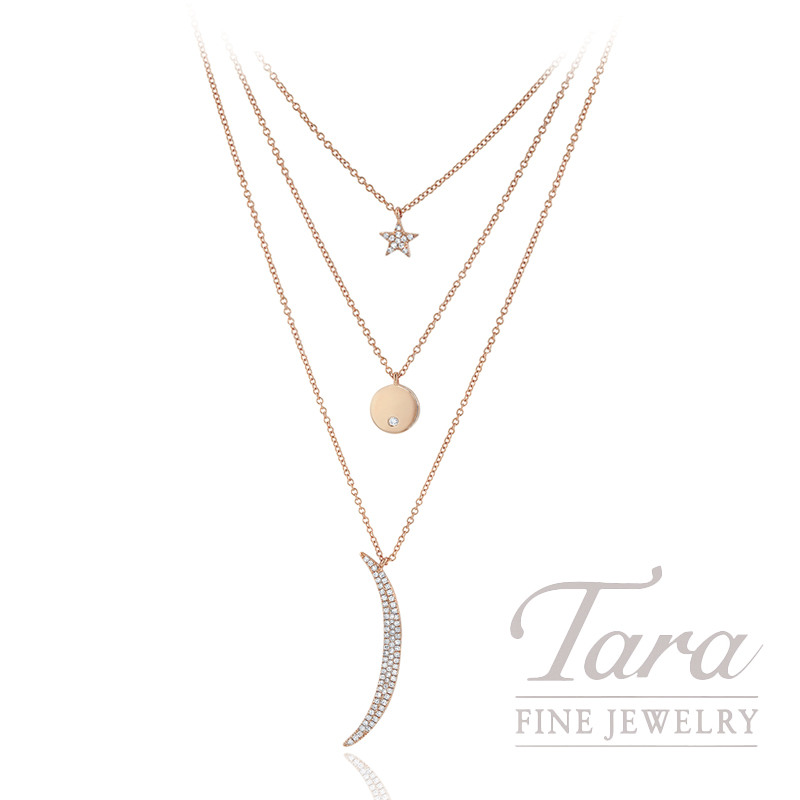"18K Rose Gold Diamond Layer Necklace 16/22"" Chain, 6.4G, .25TDW"