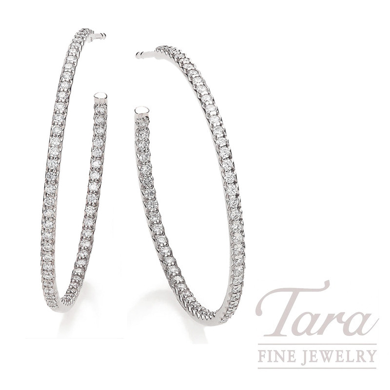 18K White Gold Inside Out Diamond Hoop Earrings - Click for Available Sizes!