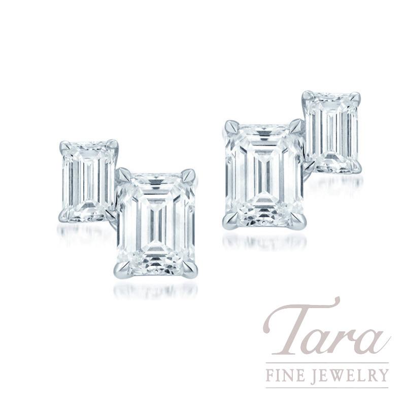 18K White Gold Emerald Cut Diamond Earrings, 2.9G, 2.83TDW