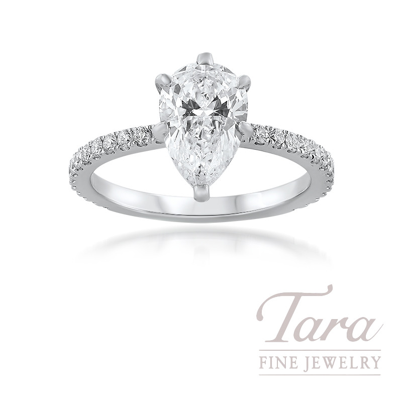 18K White Gold Pear Shape Diamond Engagement Ring; 28 Round Diamonds, .33TDW (Center Stone Sold Separately)