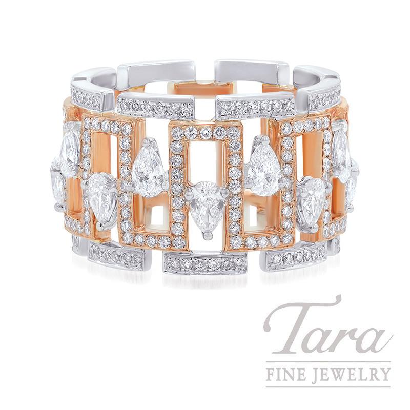 18K Rose and White Gold Diamond Fashion Ring, 12.0G, 1.60TDW
