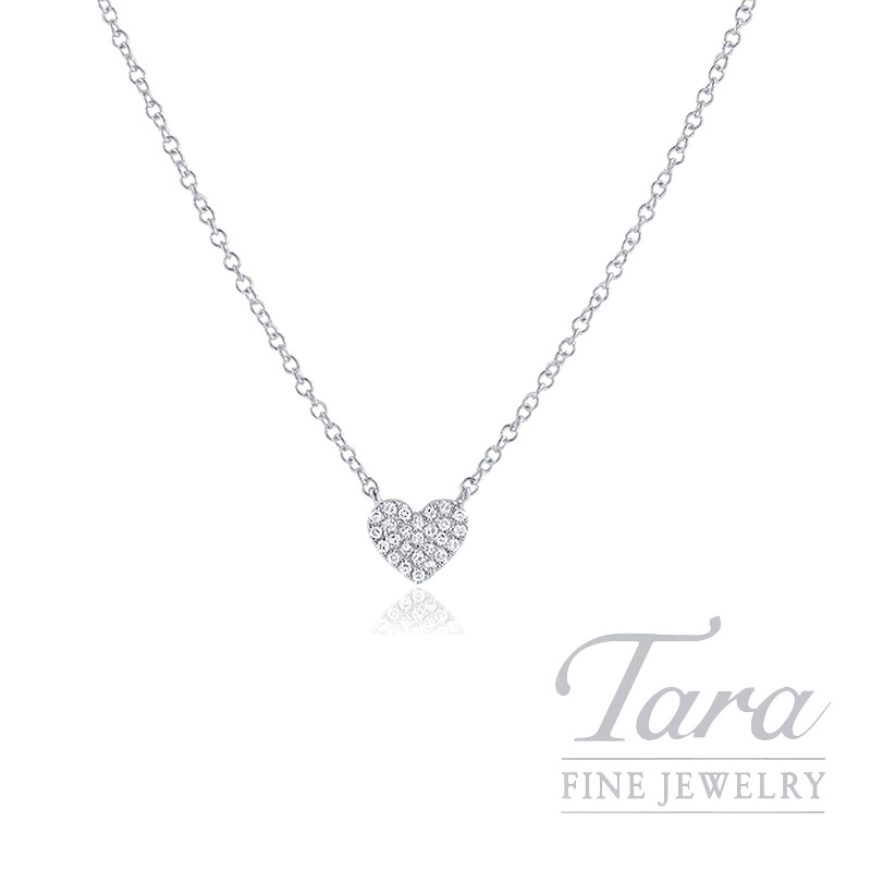 """18k White Gold Pave Diamond Heart Necklace, 16/17/18"""" Chain, 1.7G, .08TDW"""