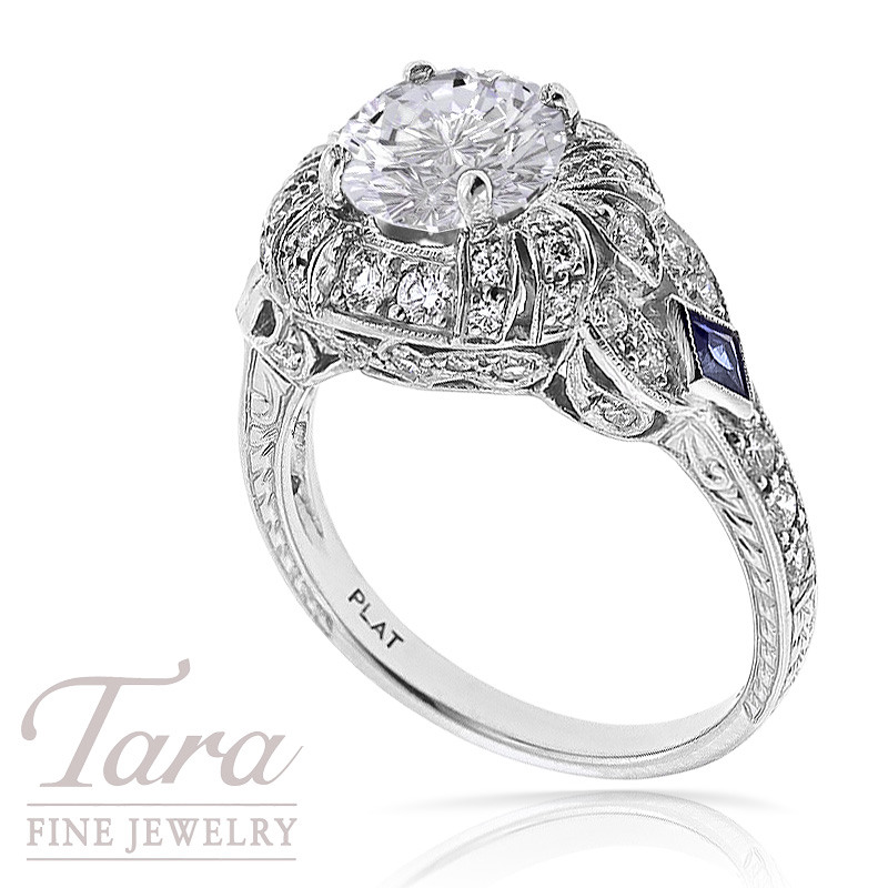 Diamond and Sapphire Platinum Ring, .57TDW and .15CT Sapphires