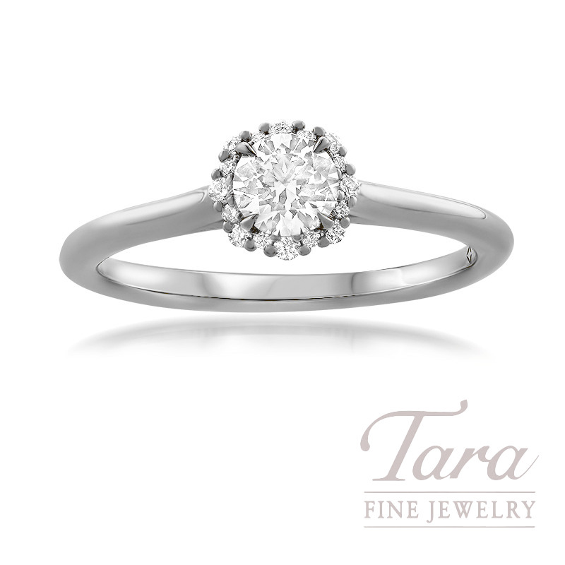Forevermark Platinum Diamond Engagement Ring, Round Center Diamond 0.31 J-SI1, 16 Round Stones 0.07TDW copy