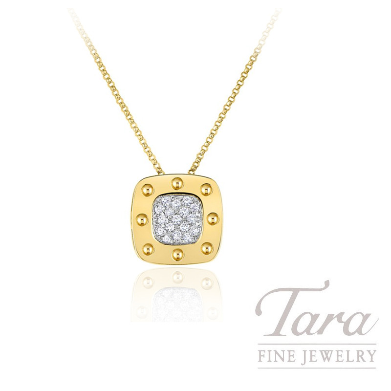 Roberto Coin 18K Yellow Gold Square Pois Moi Diamond Necklace, .25TDW, Pois Moi Collection