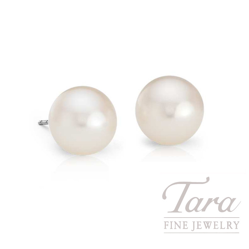 14K White Gold Pearl Stud Earrings