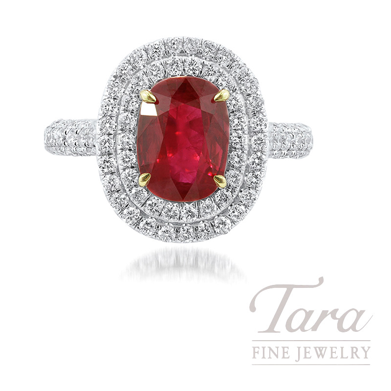 18k White Gold Double Diamond Halo Ruby Engagement Ring, 1.99CT Natural Burma Ruby, 1.17TDW (Center Stone Sold Separately)