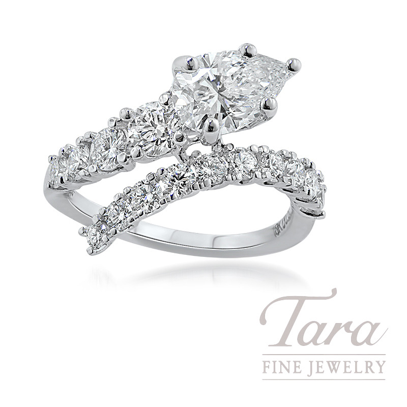 18K White Gold Pear-Shape Diamond Spiral Engagement Ring, 1.50CT Pear-shape Diamond, 4.2G, 1.14TDW (Center Stone Sold Separately)