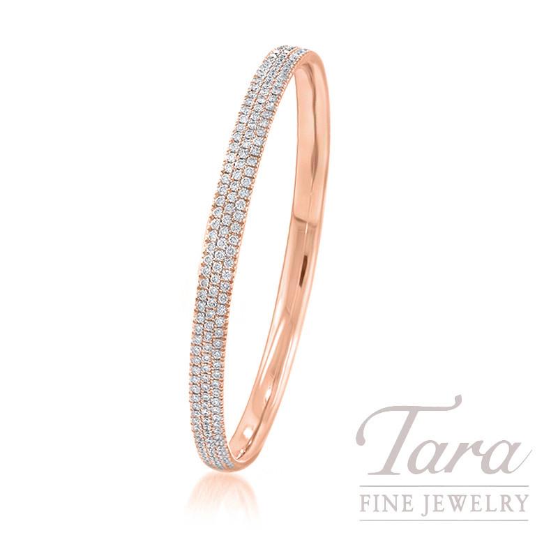 18K Rose Gold Pave Diamond Bangle, 25.0G, 5.00TDW