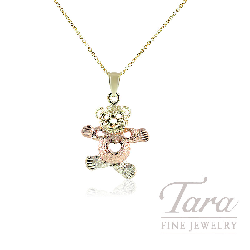 14K Yellow & Rose Gold Teddy Bear Pendant, 2.0G