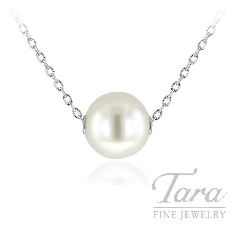 "Mikimoto 18K White Gold Pearl Necklace, 10MM South Sea Pearl A+, 18"" Chain"