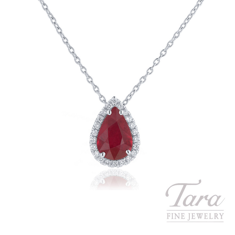 18k white gold ruby and diamond halo pendant 422ct pear shape ruby 18k white gold ruby and diamond halo pendant 422ct pear shape ruby aloadofball Gallery