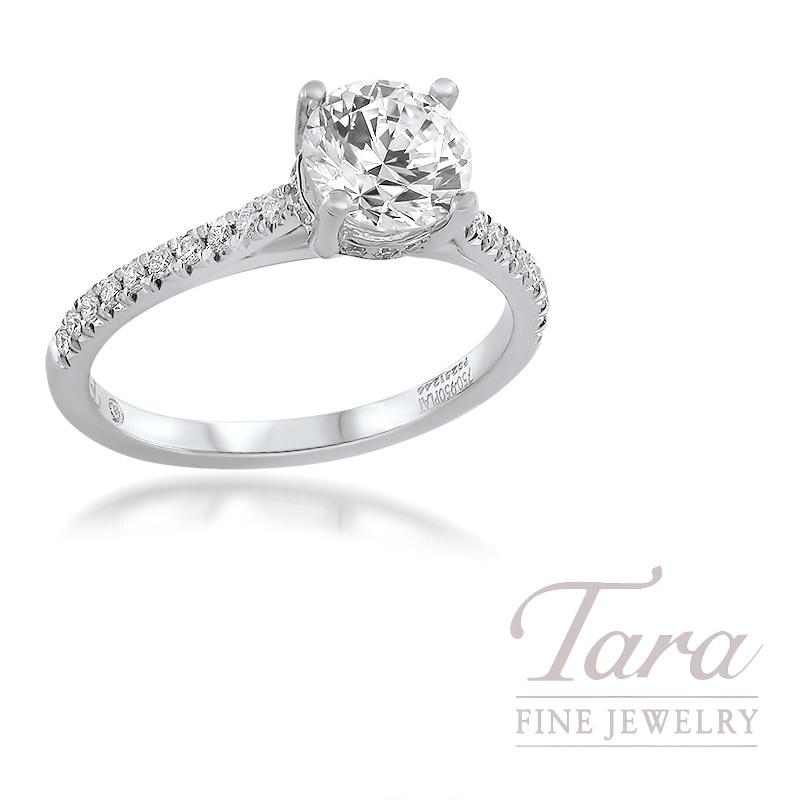 18K White Gold Semi Mount Diamond Engagement Ring 2.8G; 33 Round Diamonds, .17TDW (Center Stone Sold Separately)