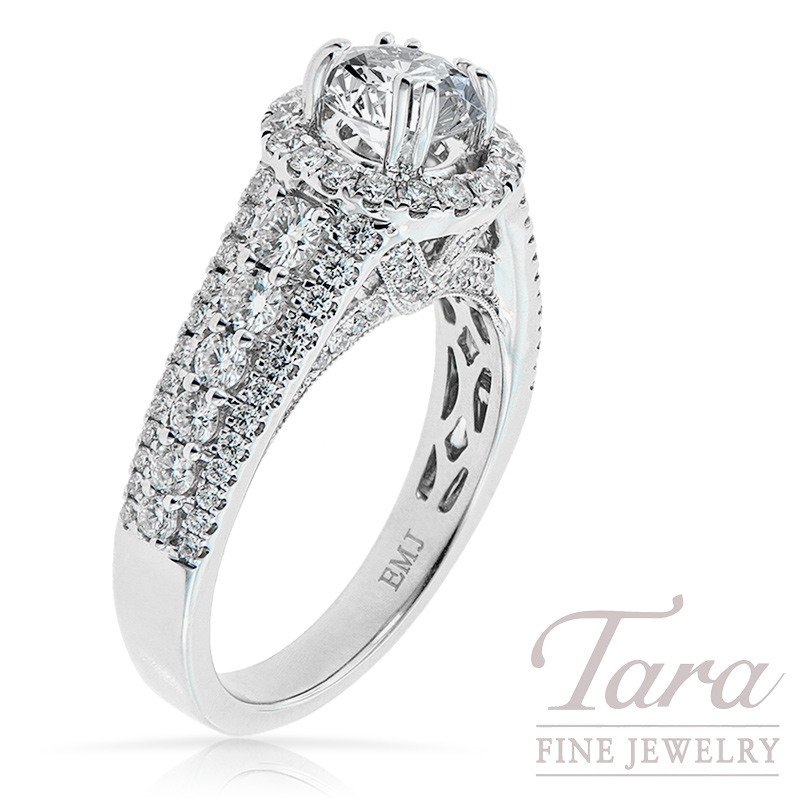 Diamond Engagement Semi-Mount in 18k White Gold 1.19 TDW (Center Stone Sold Separately)