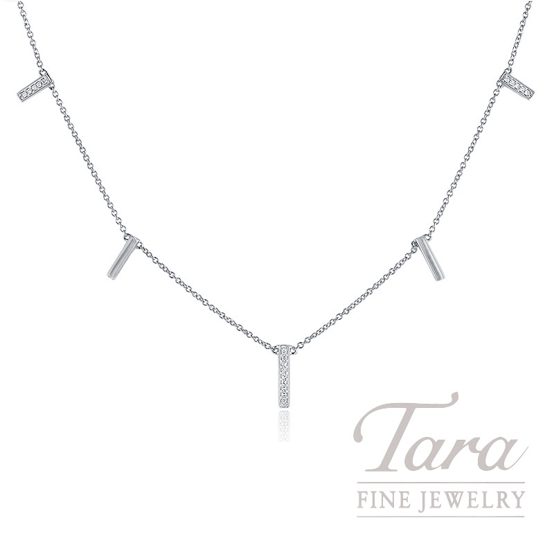 18k White Gold Diamond Bar Stationary Necklace, .05TDW