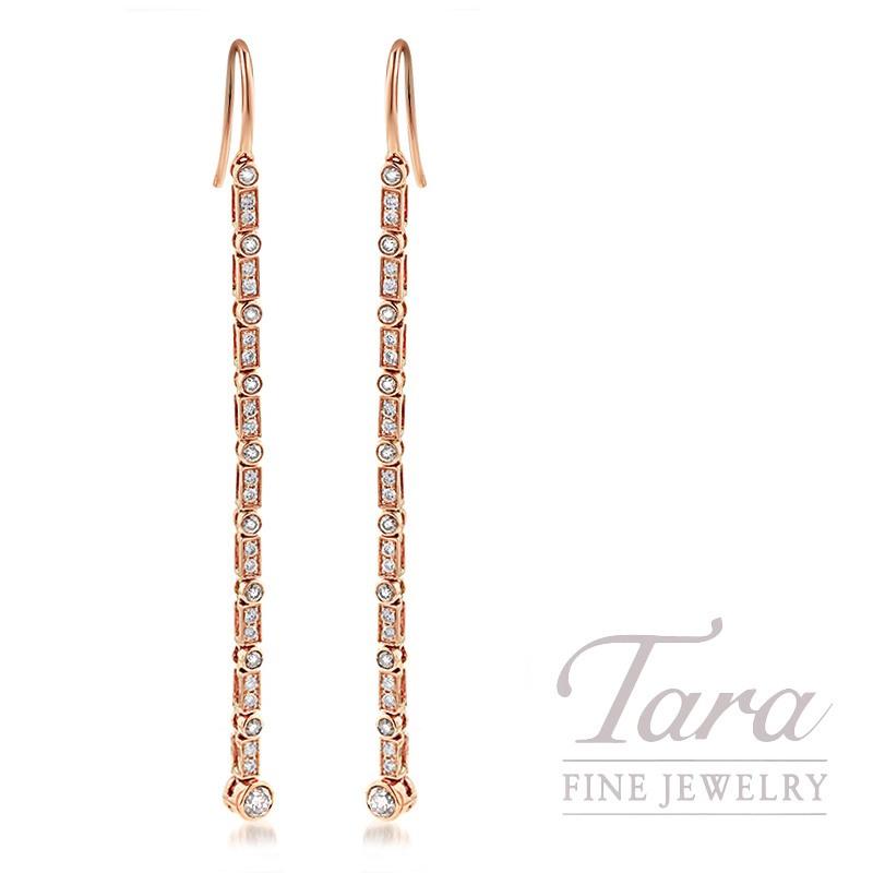 18K Rose Gold Diamond Bezel Dangle Earrings, 3.8G, .79TDW