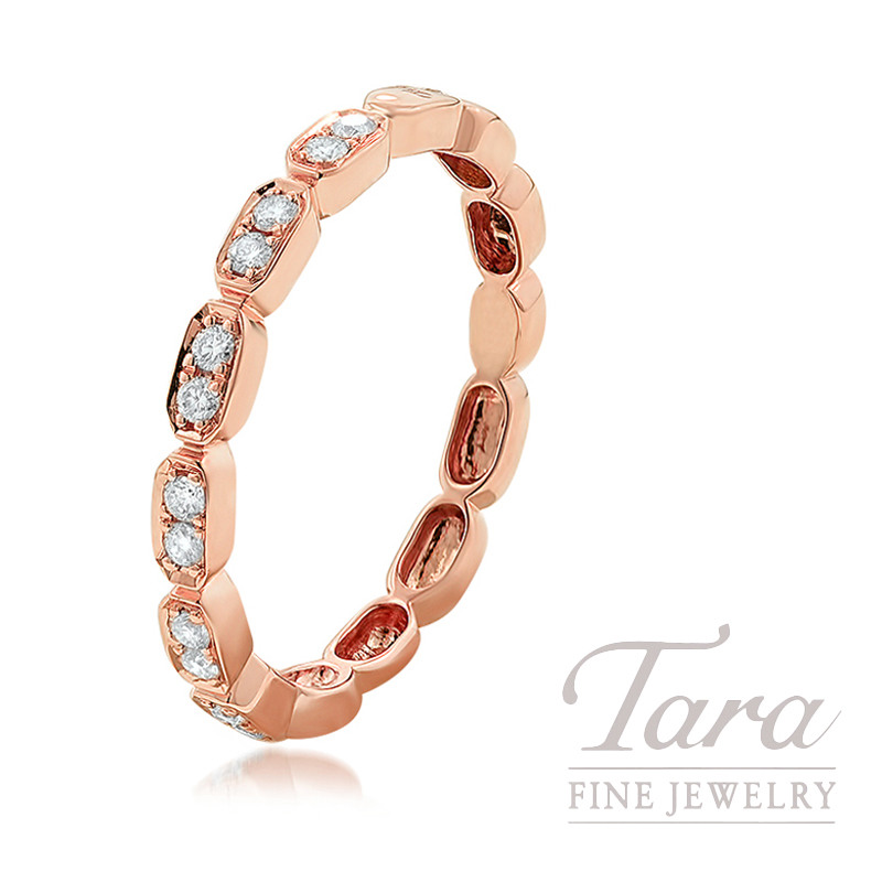 18K Rose Gold Diamond Cluster Stackable Ring, 2.0G, .17TDW