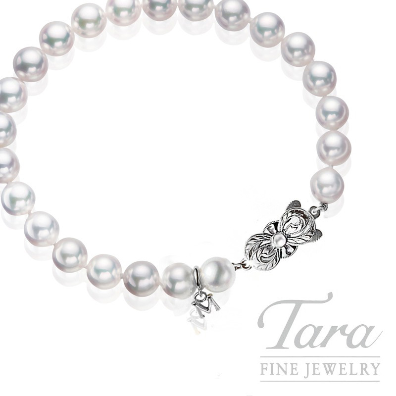 Mikimoto Pearl Bracelet with Signature White Gold Pearl Clasp - Click for Available Sizes!