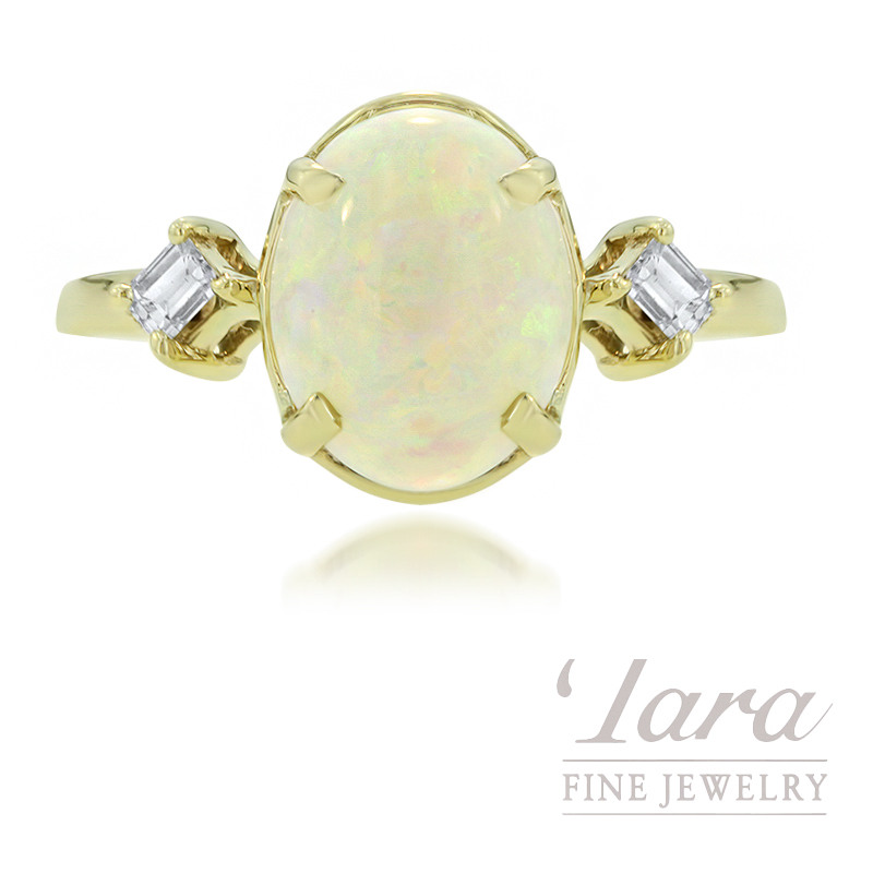 Estate 14k Yellow Gold Opal and Diamond Ring, 2.5G