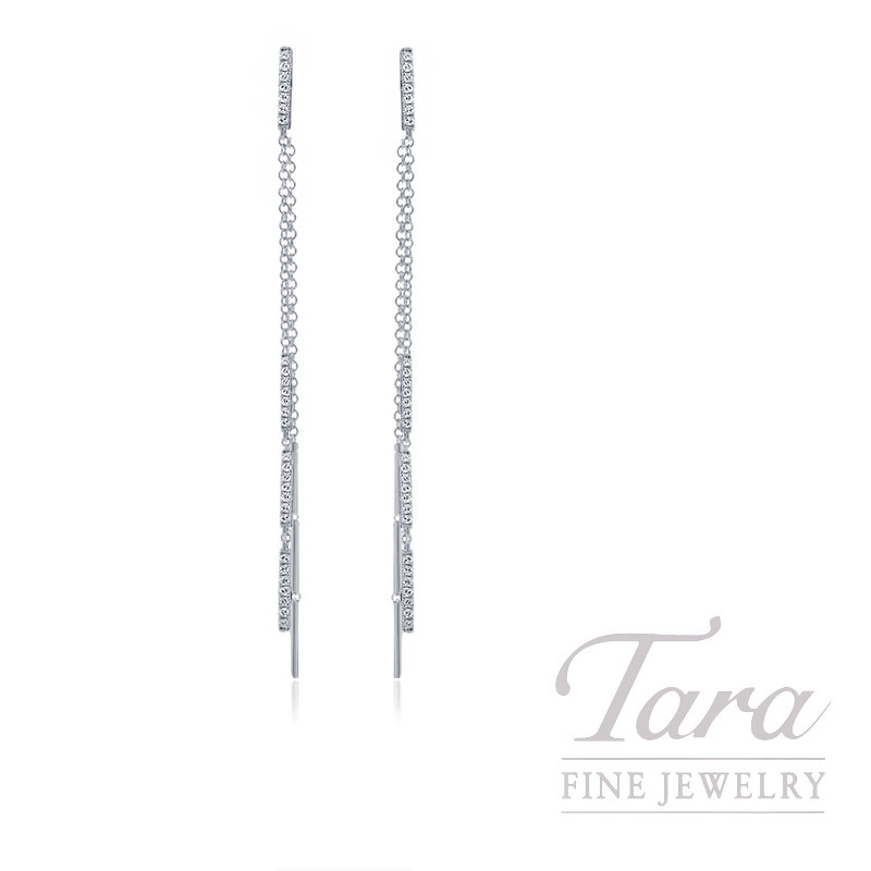 18K White Gold Diamond Earrings, 3.5G, .28TDW